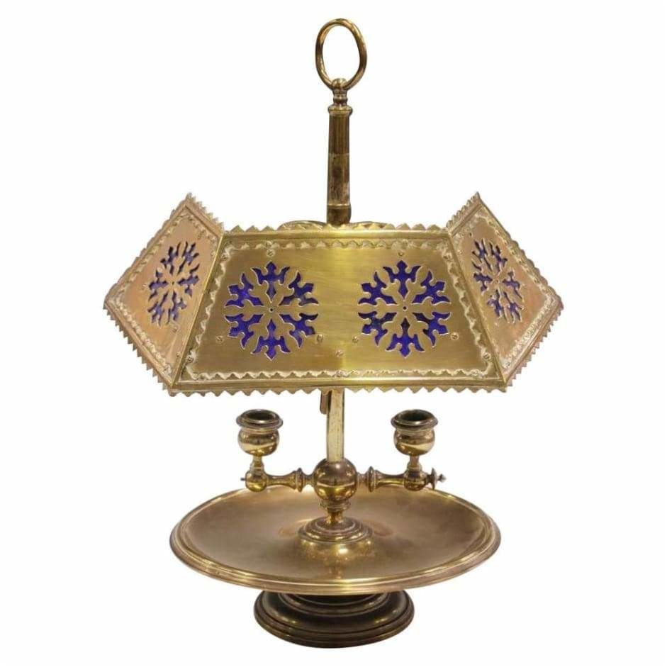 Lighting - 19C Brass Desk Or Table Lamp With Cobalt Glass Shade
