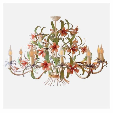 Lighting - French Tole Painted 12-Light Chandelier