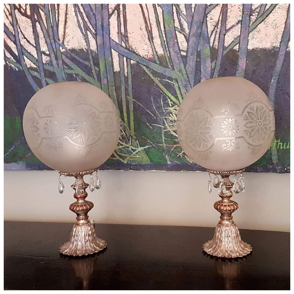 Lighting - Metal Candlestick Lamps With Vintage Frosted Dome Shades