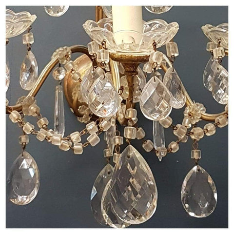 Lighting - Pair Of 3-Light Cut Glass Wall Sconces