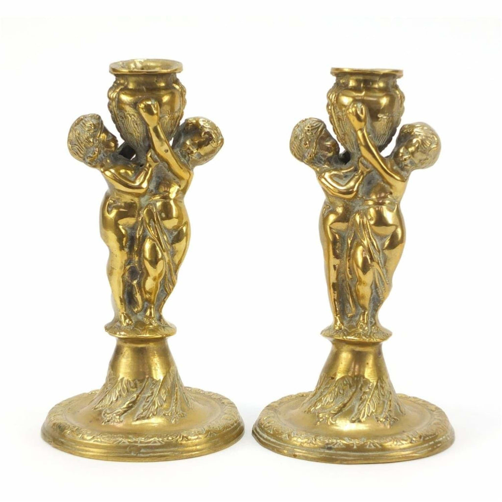 Lighting - Pair Of Classical Bronzed Candlesticks