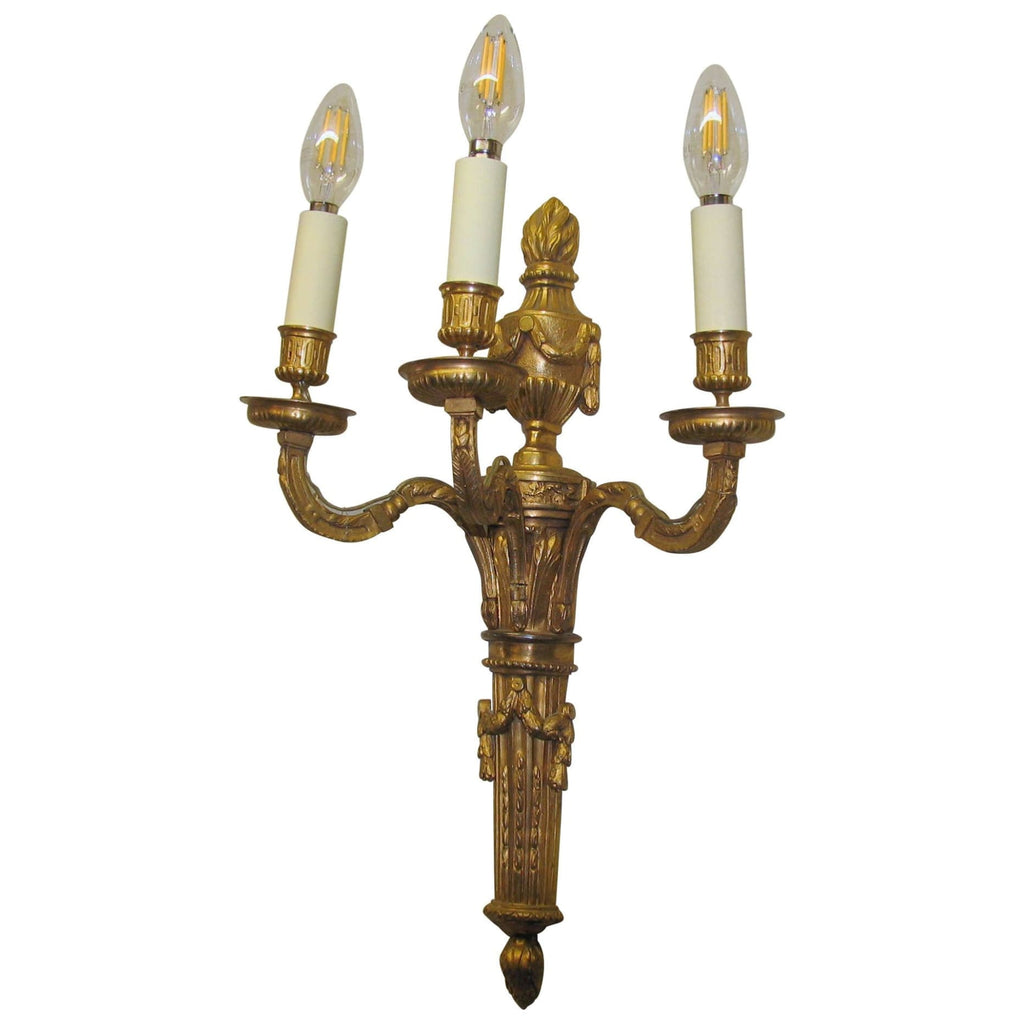 Lighting - Pair Of Early 20th Century Neoclassical Bronze 3-Branch Wall Lights