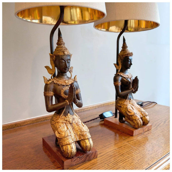 Lighting - Thai Gilt Bronze Table Lamps