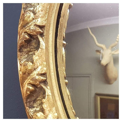 Mirrors - Gilt Round Convex Mirror