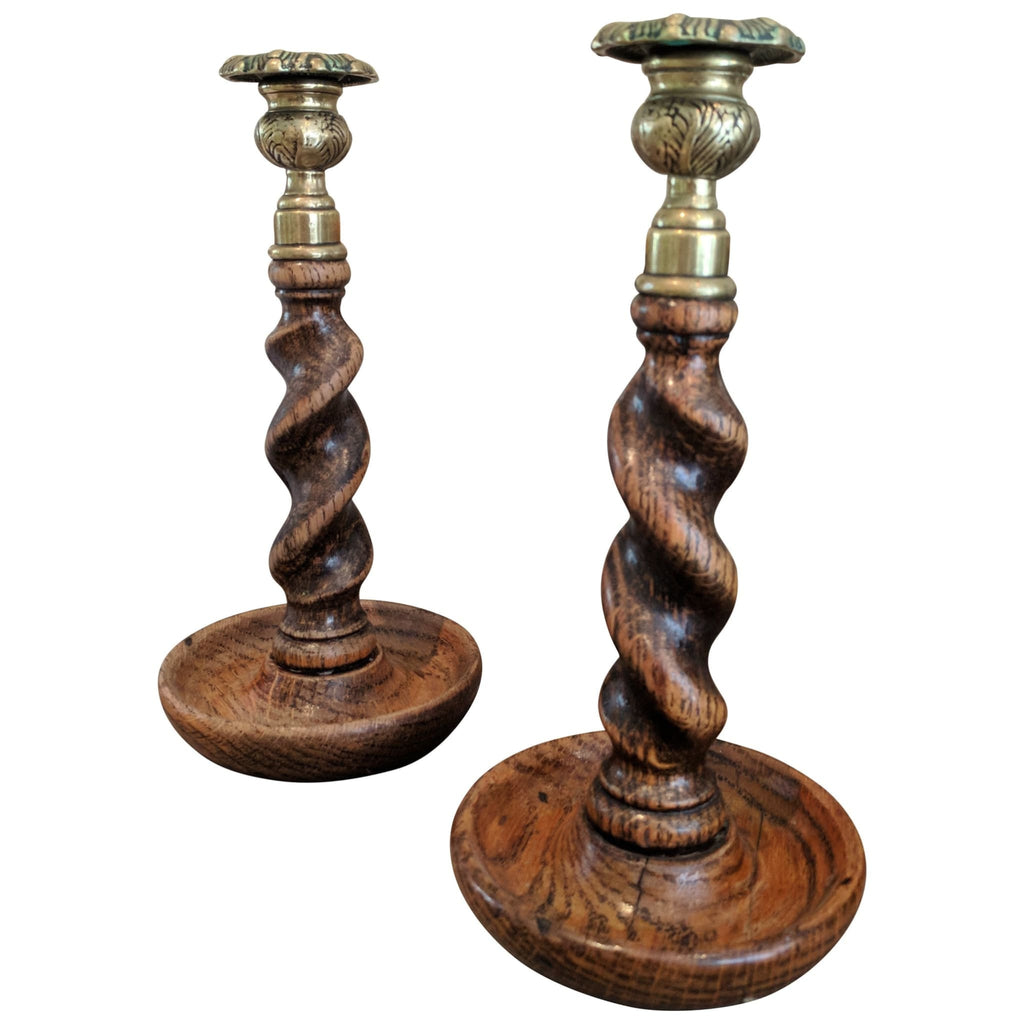 Miscellaneous - Edwardian Oak Barley Twist Candlesticks