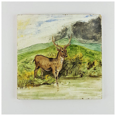 Miscellaneous - Minton Tile Of Stag In A Landscape