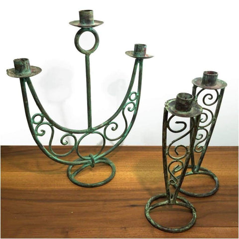 Miscellaneous - Verdigris Candelabra Set