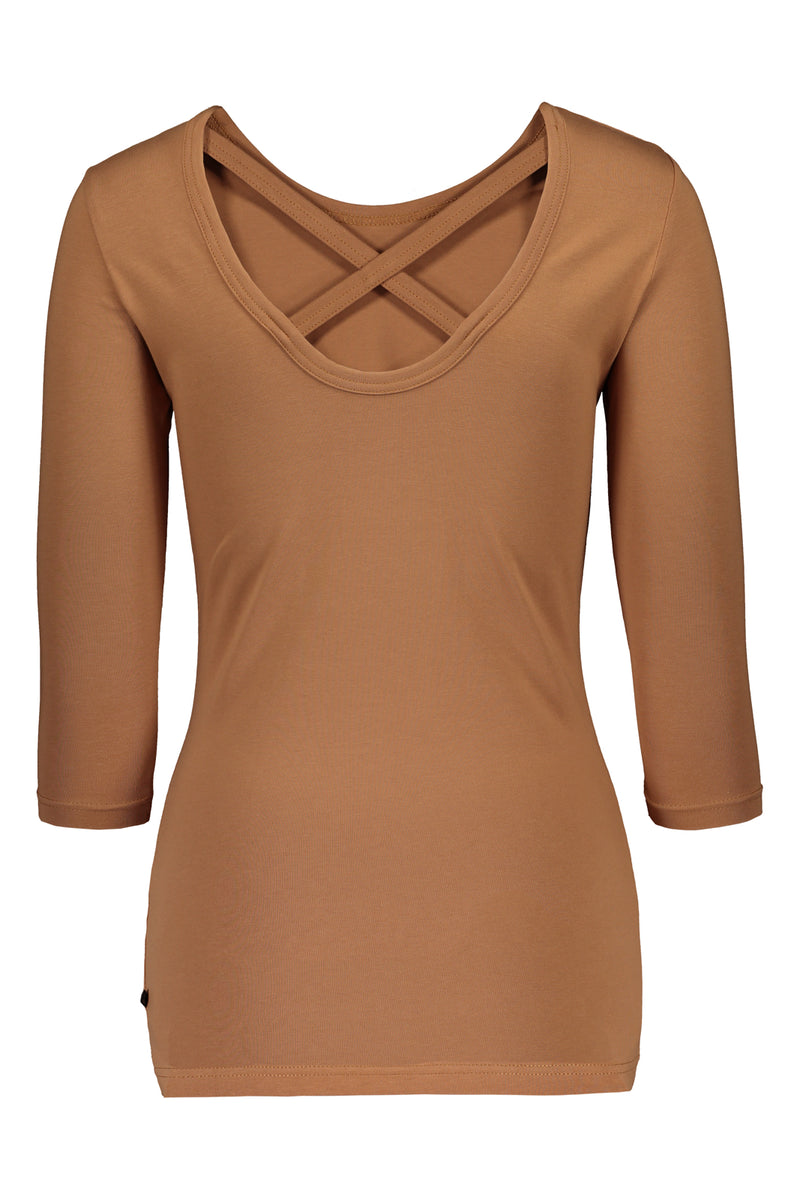 Cross Shirt 3/4 sl, Caramel