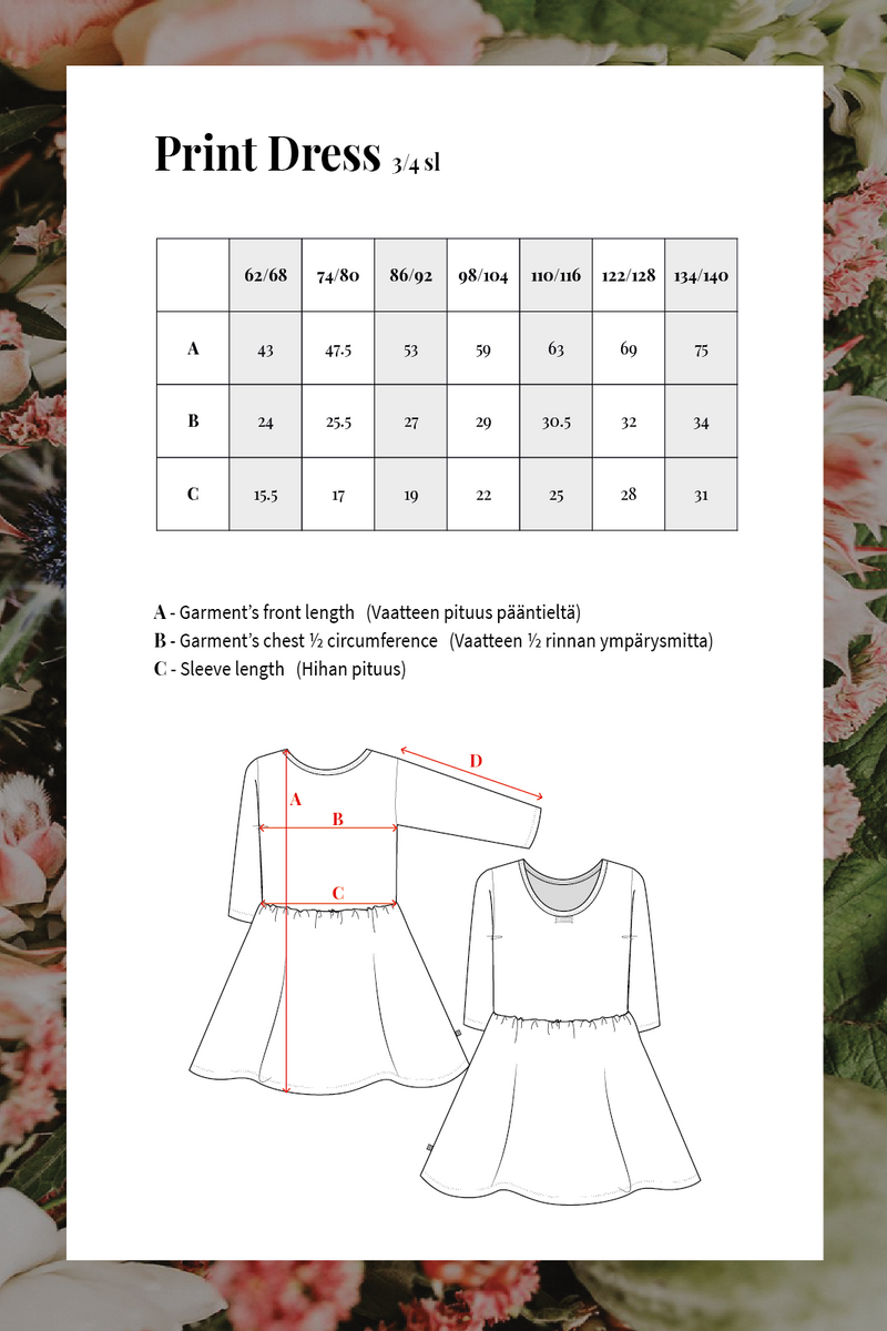 Poppy Field Dress3/4 sl