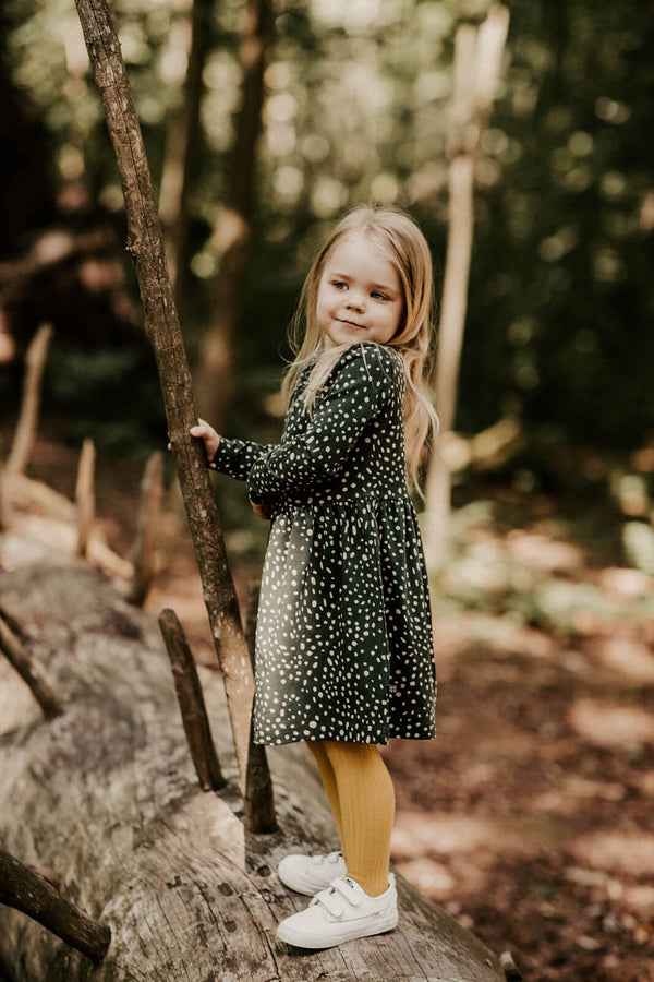 Wild Dots Dress Ls, Moss