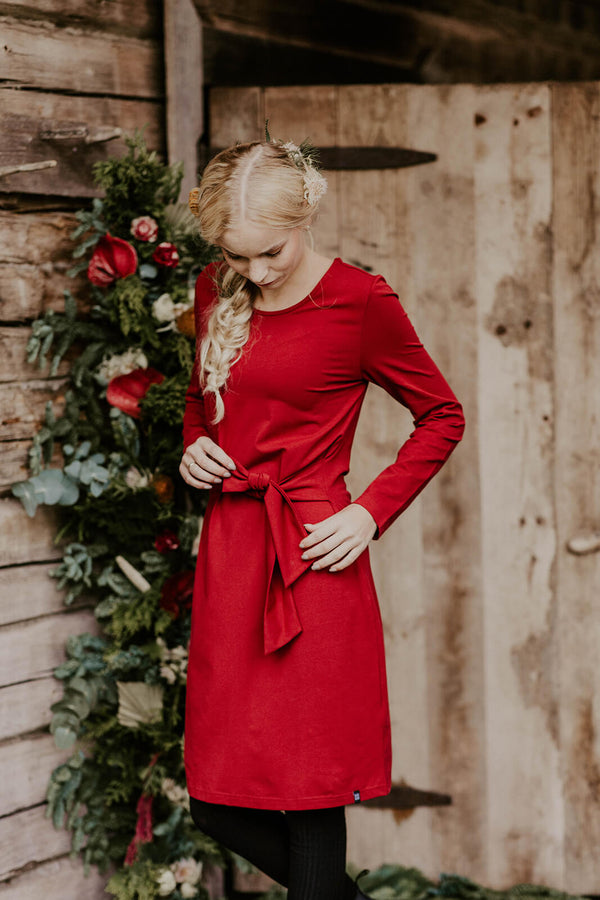 Belted Dress Ls, Red