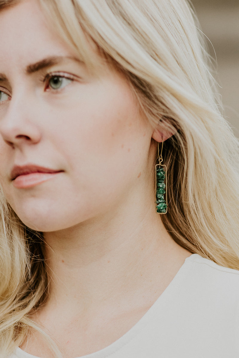 Amba Earrings, Green