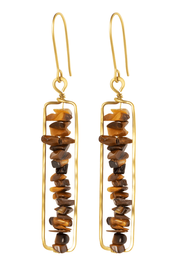 Amba Earrings, Tiger's eye