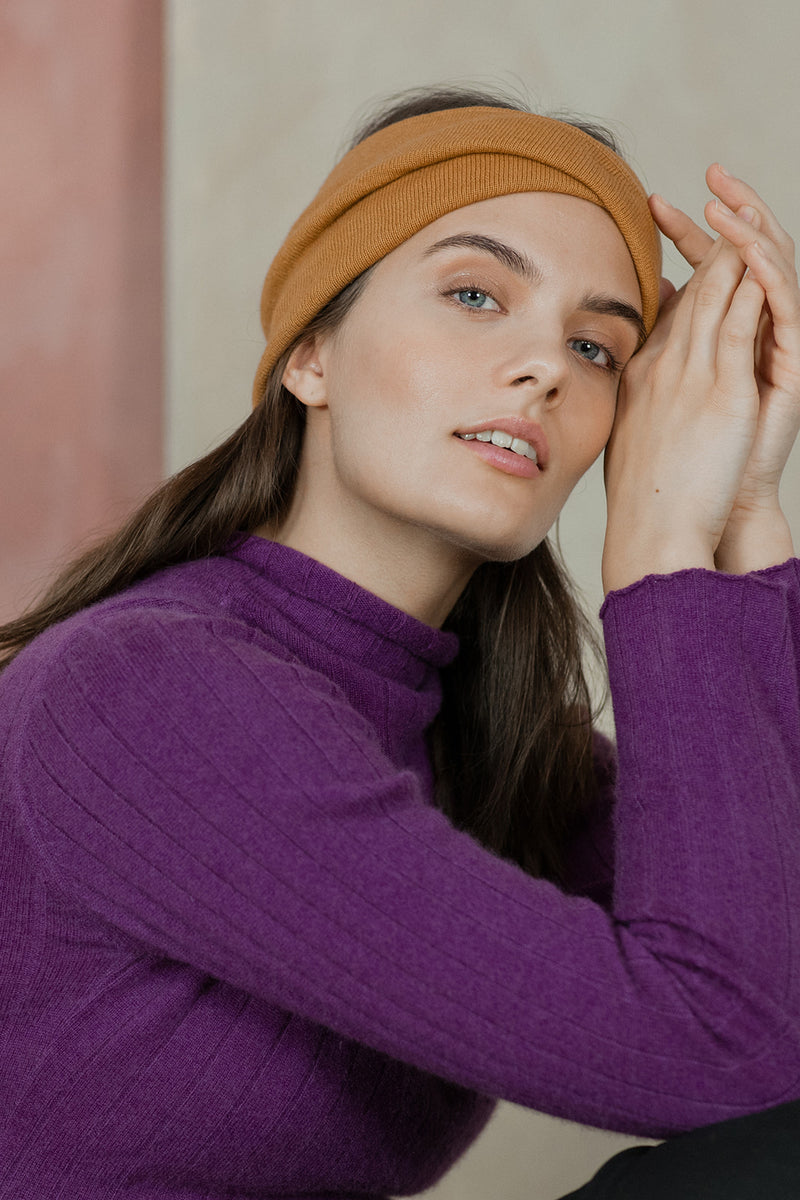 Knitted Cashmere Headband, Marigold