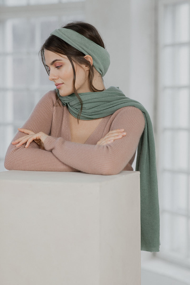 Knitted Cashmere Scarf, Thyme
