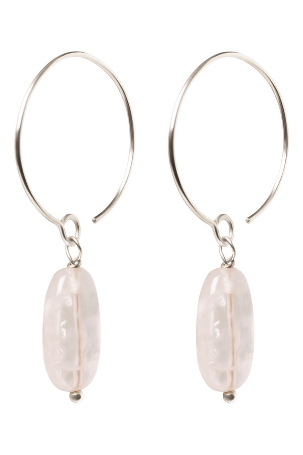Luna Earrings, Rose Quartz