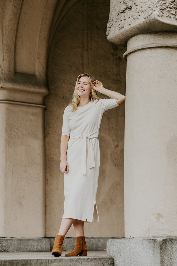 Midi Belted Dress, Almond