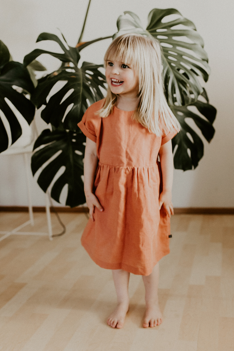 Linen Empire Dress, Tangerine