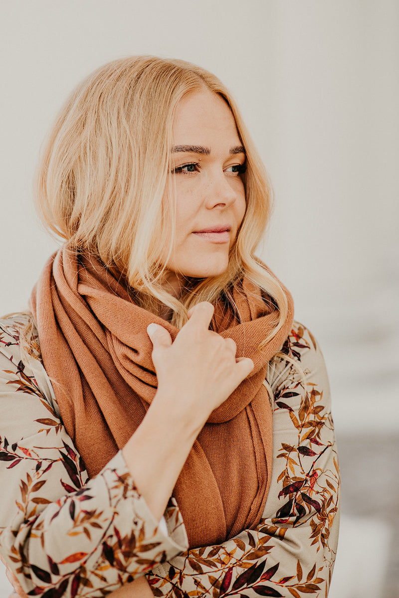 Knitted Cashmere Scarf, Cashew