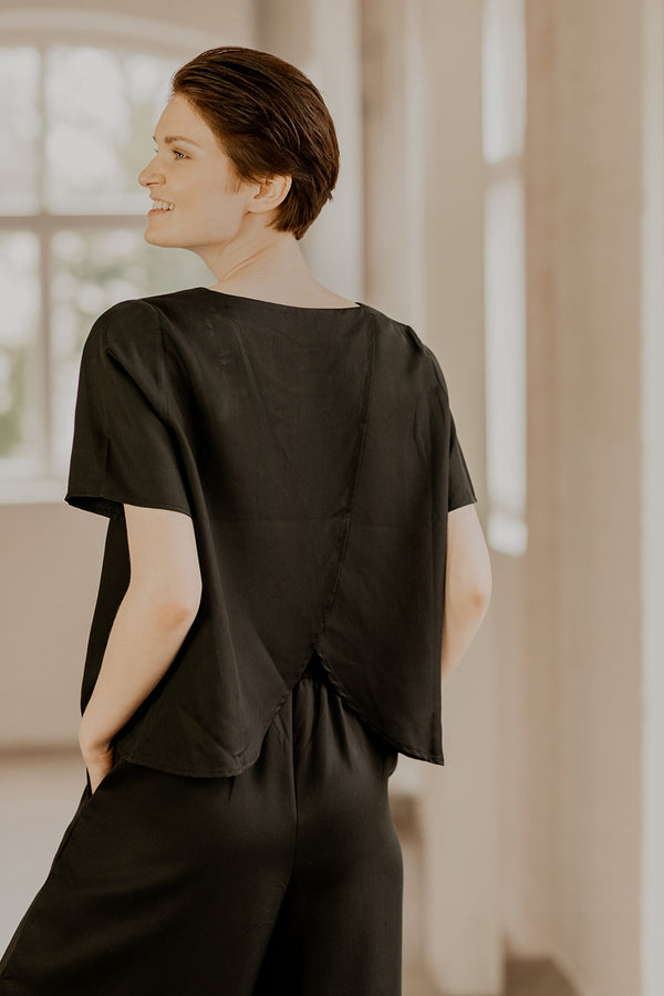 Wrap Back Blouse, Black