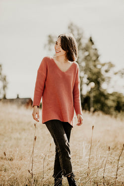 Chunky V-neck Knit Ls, Raspberry