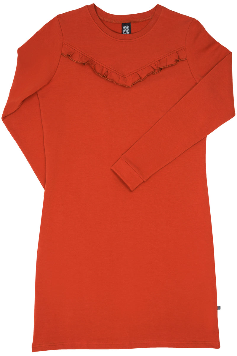 Ruffle Dress, Rust