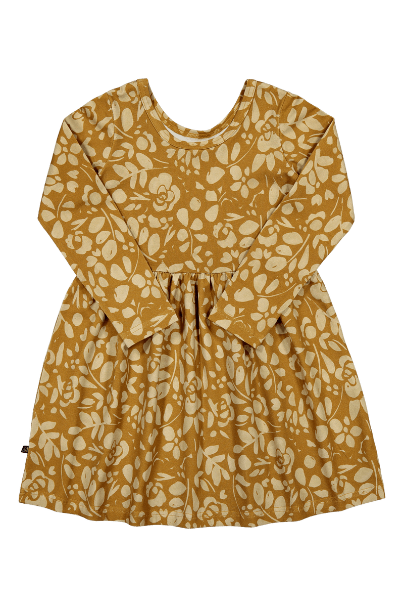 Floral Dress Ls, Ochre