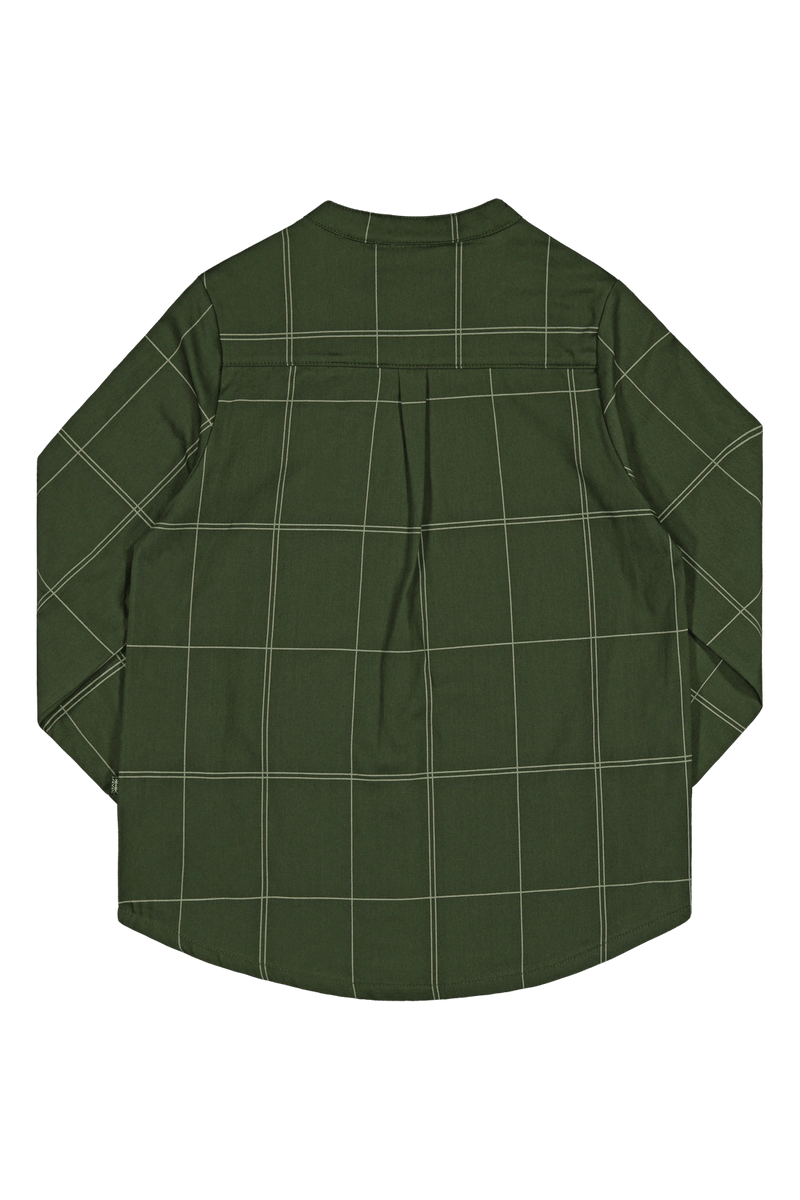 Grid Collar shirt Ls, Moss