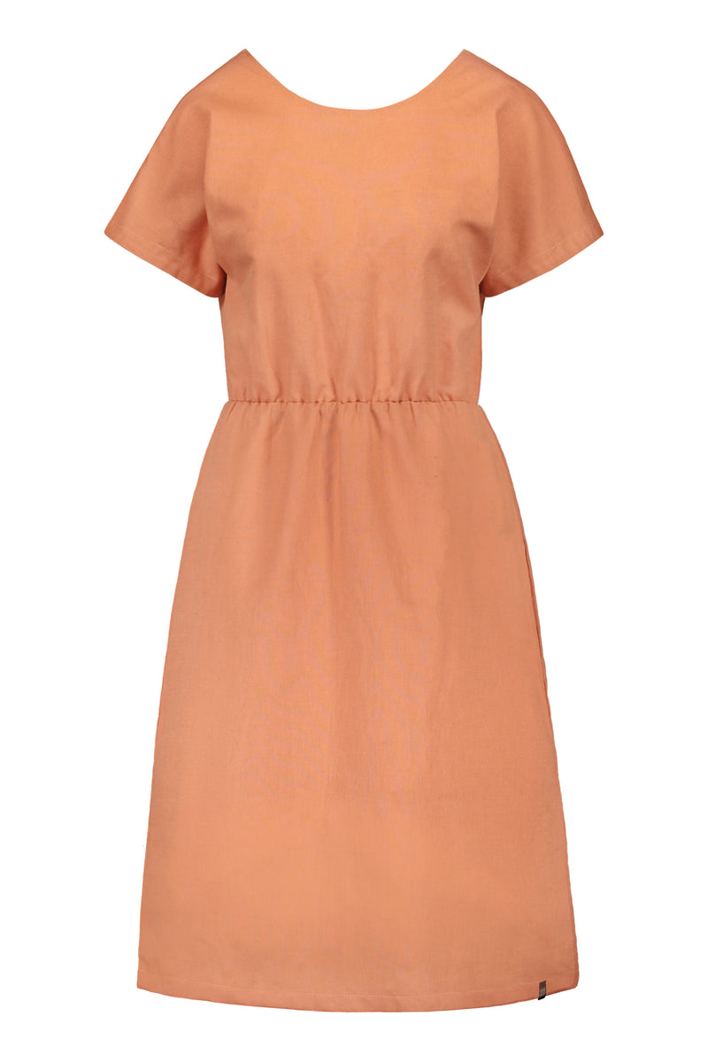 Linen Wrap Dress, Tangerine