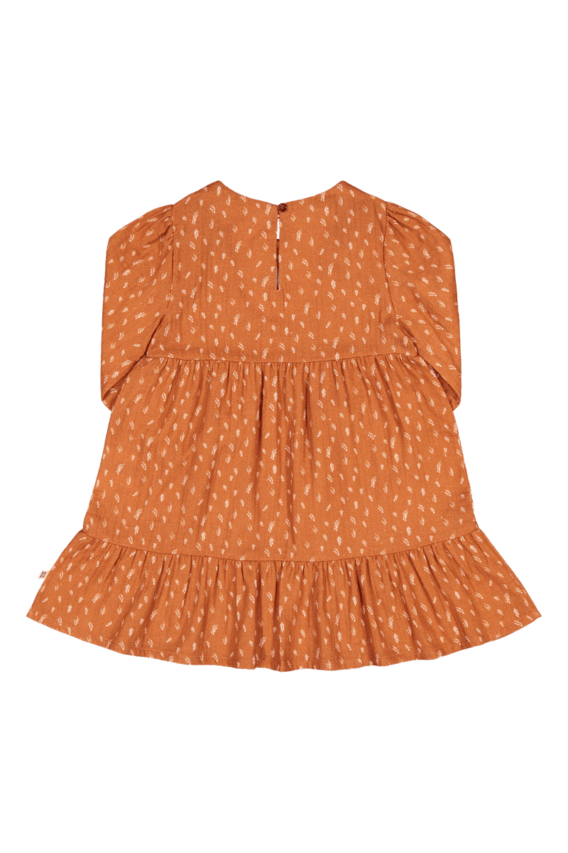 Ruffle Tier Dress Ls, Vintage Leaf