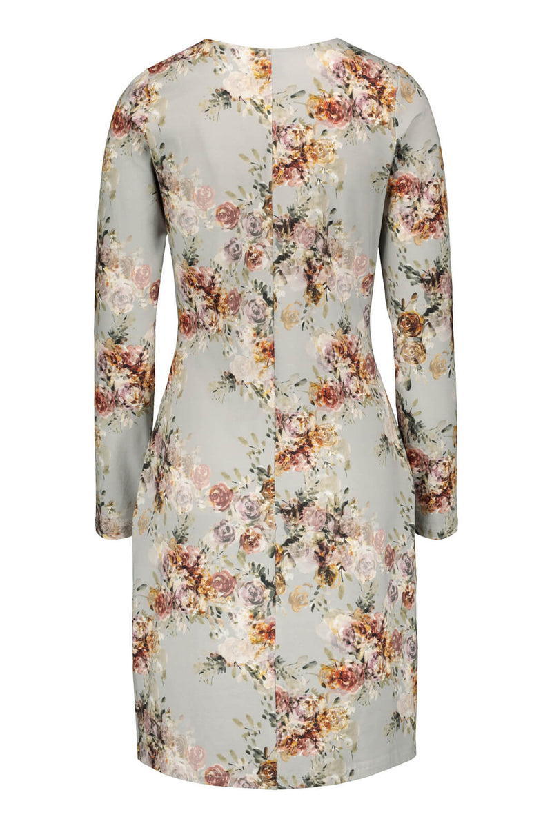 Belted Dress Ls, Vintage Flora