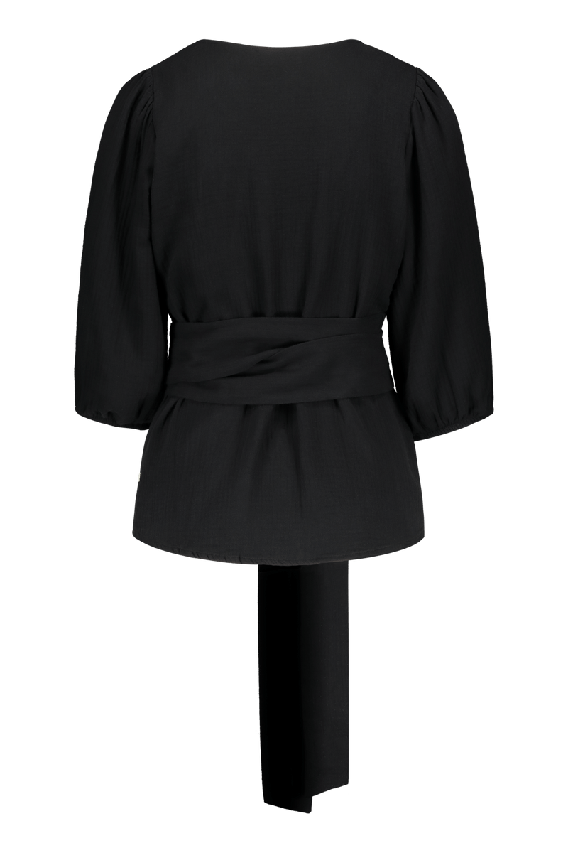 Wrap Blouse, Black