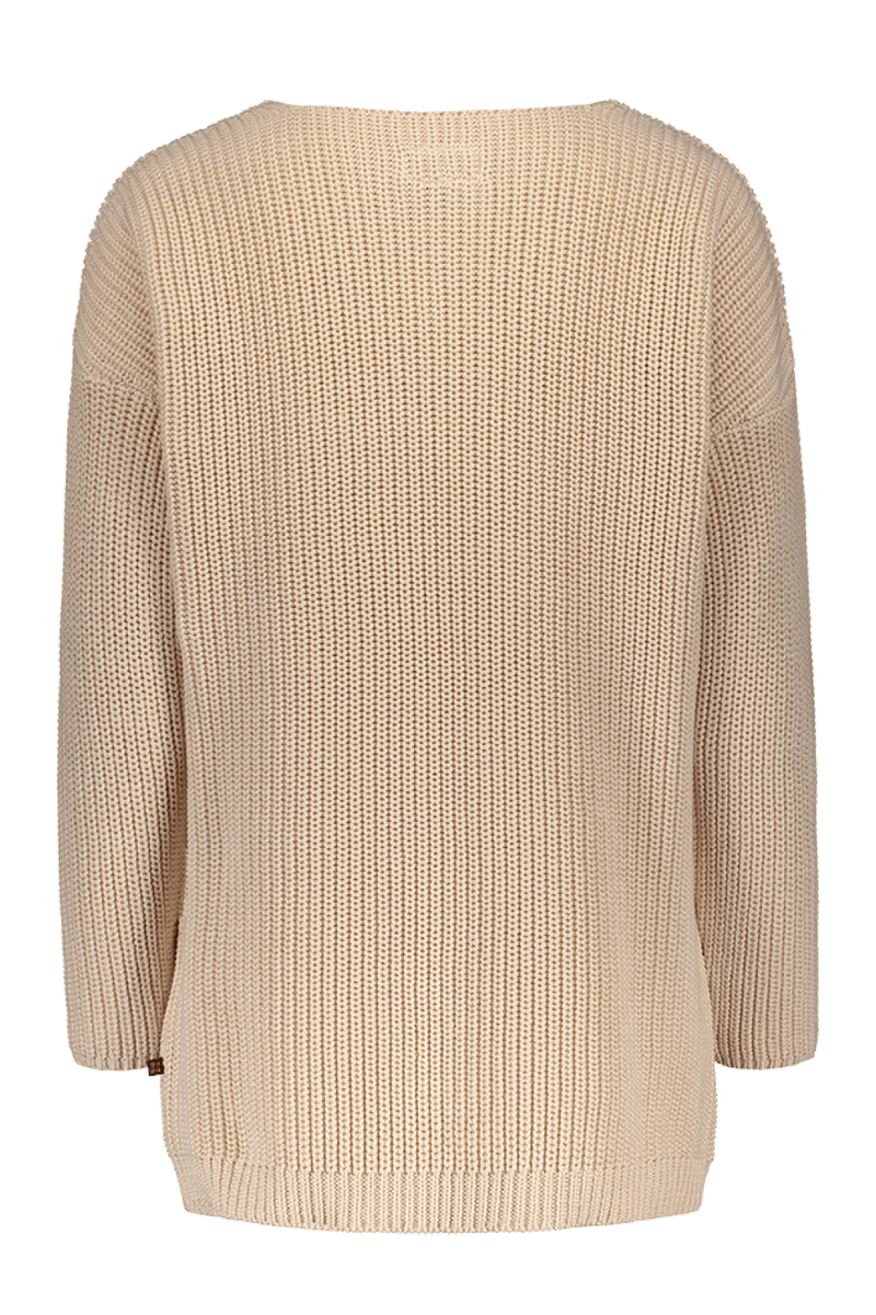 Chunky V-neck Knit Ls, Oats