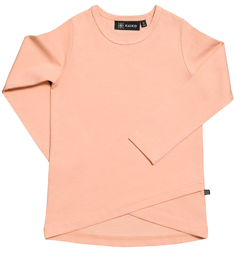 Cross Hem T-shirt LS, Peach