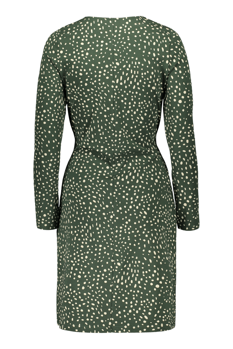 Wild Dots Belted Dress Ls, Moss