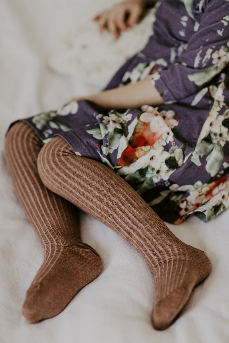 Rib Tights, Dusty Brown Mel.