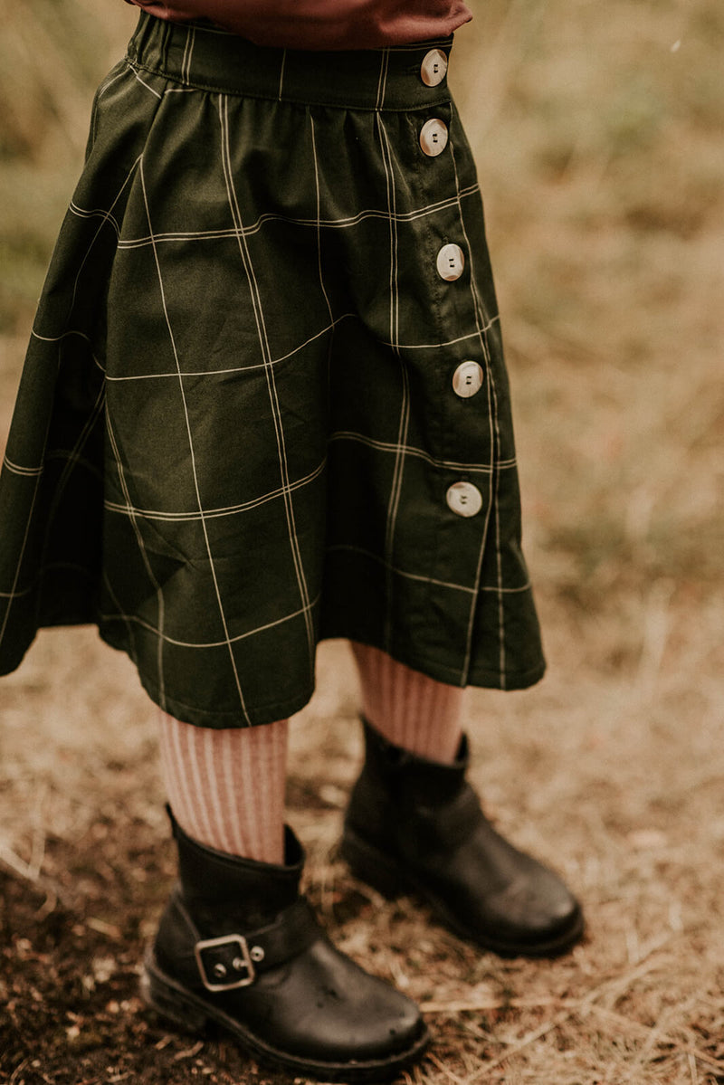 Grid Button Skirt, Moss