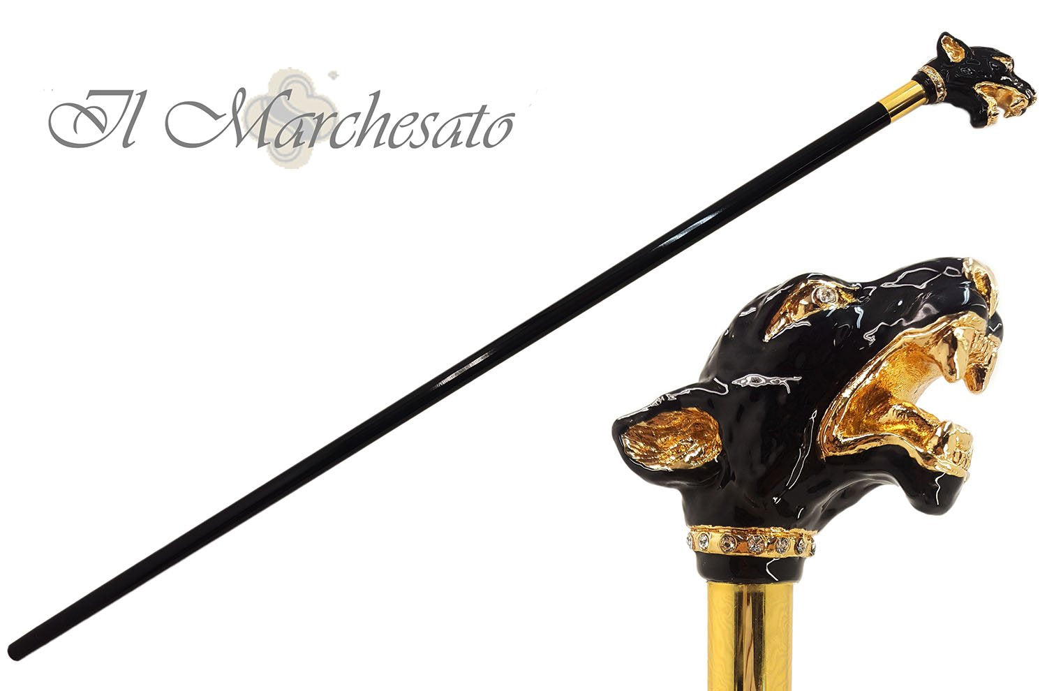 Fantastic Gold Plated Dog  - Hand Enamelled - Walking Cane - il-marchesato