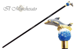 Brilliant Enamelled Dauphin - Walking Cane - il-marchesato