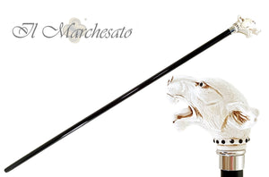 Walking Stick cane Lacquered in an Ivory Color - il-marchesato