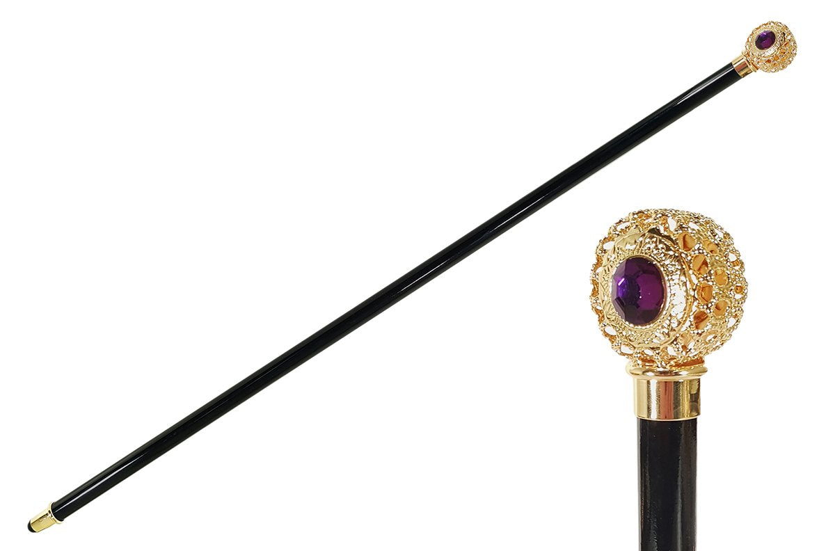 Handmade Walking stick - Golden filigree sphere with crystal - il-marchesato