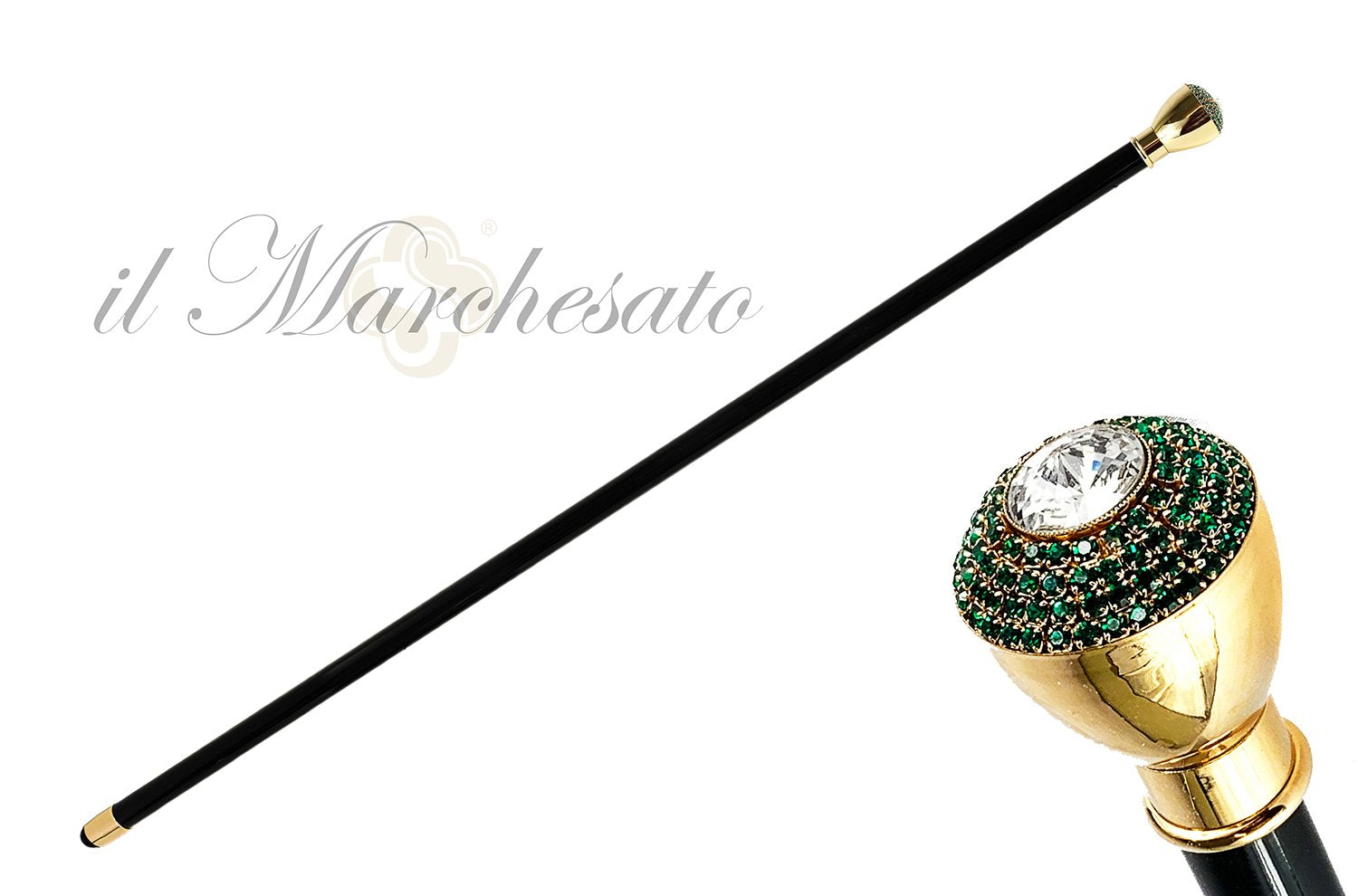 LUXURY WALKING CANE GREEN SWAROVSKI  ENCRUSTED