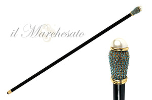 AQUAMARINE RHINESTONES LUXURY EVENING CANE