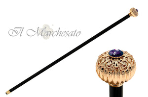 """Onion"" Walking cane with filigree and amethyst - il-marchesato"