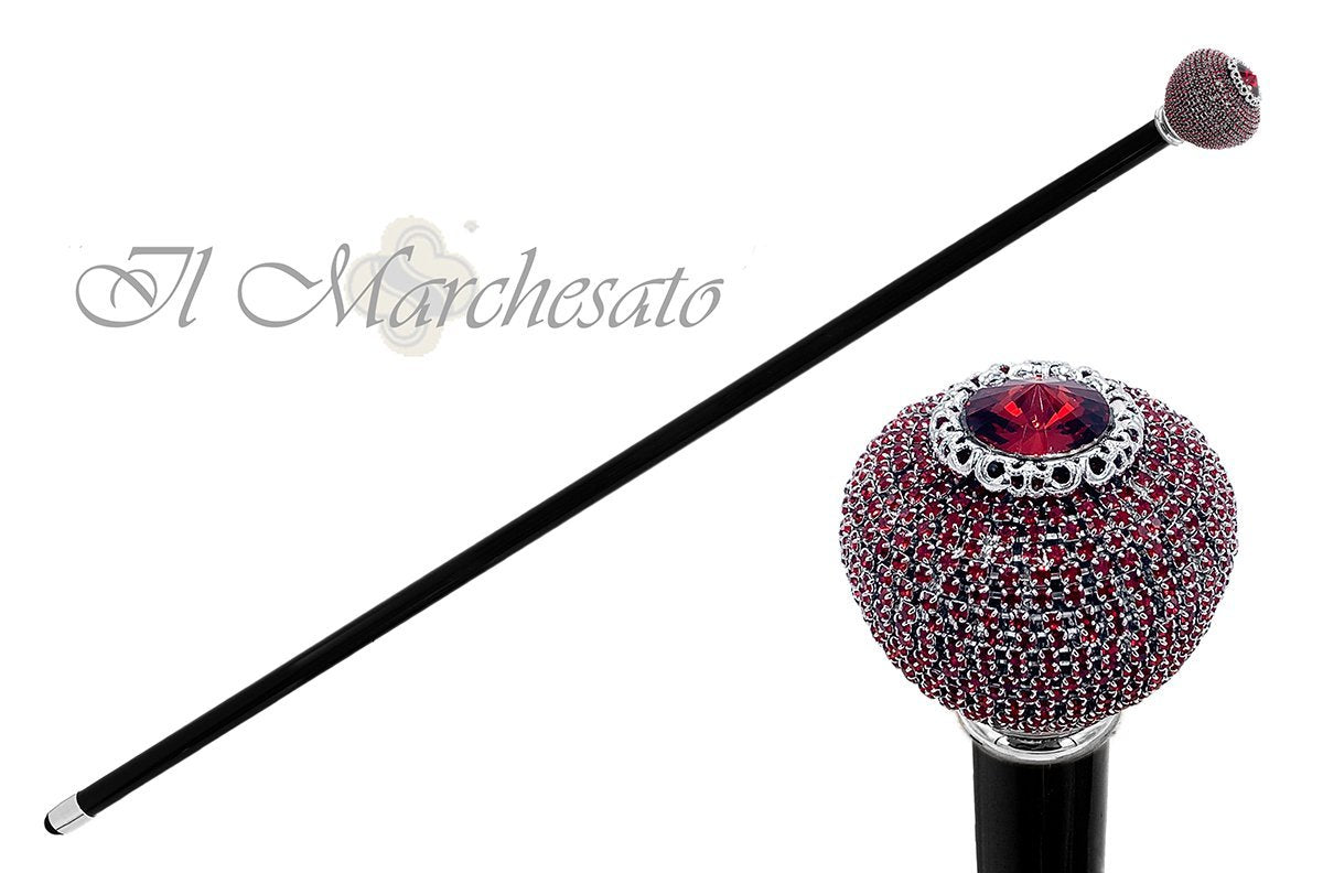 Esteemed round Knob with Siam crystals - il-marchesato