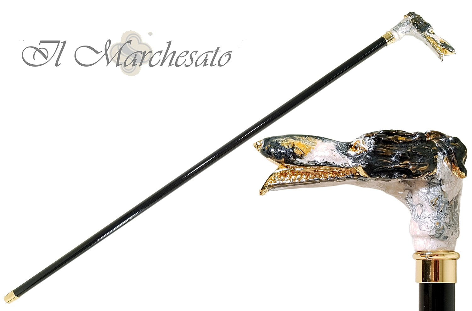 Walking Stick with a Hand-Enamelled Dog's Head on 24k Gold - il-marchesato