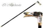 Carica l'immagine nel visualizzatore di Gallery, Walking Stick with a Hand-Enamelled Dog's Head on 24k Gold - il-marchesato