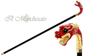Majestic Hand-Enamelled handle on 24k Gold - Dragon - il-marchesato