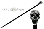 Carica l'immagine nel visualizzatore di Gallery, il Marchesato Lux Black Skull Cane Encrusted with Hundreds Swarovski Cristals - il-marchesato