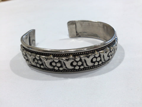 Vintage Tibetan Silver Plated  Mantra Cuff Bracelet Tribal Bangle, Unisex